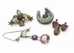 A micro mosaic and clover leaf horseshoe brooch, a heart shaped drop bar brooch, a hardstone drop