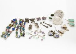 A collection of gem set and silver earrings, including a pair of butterfly and marcasite examples,