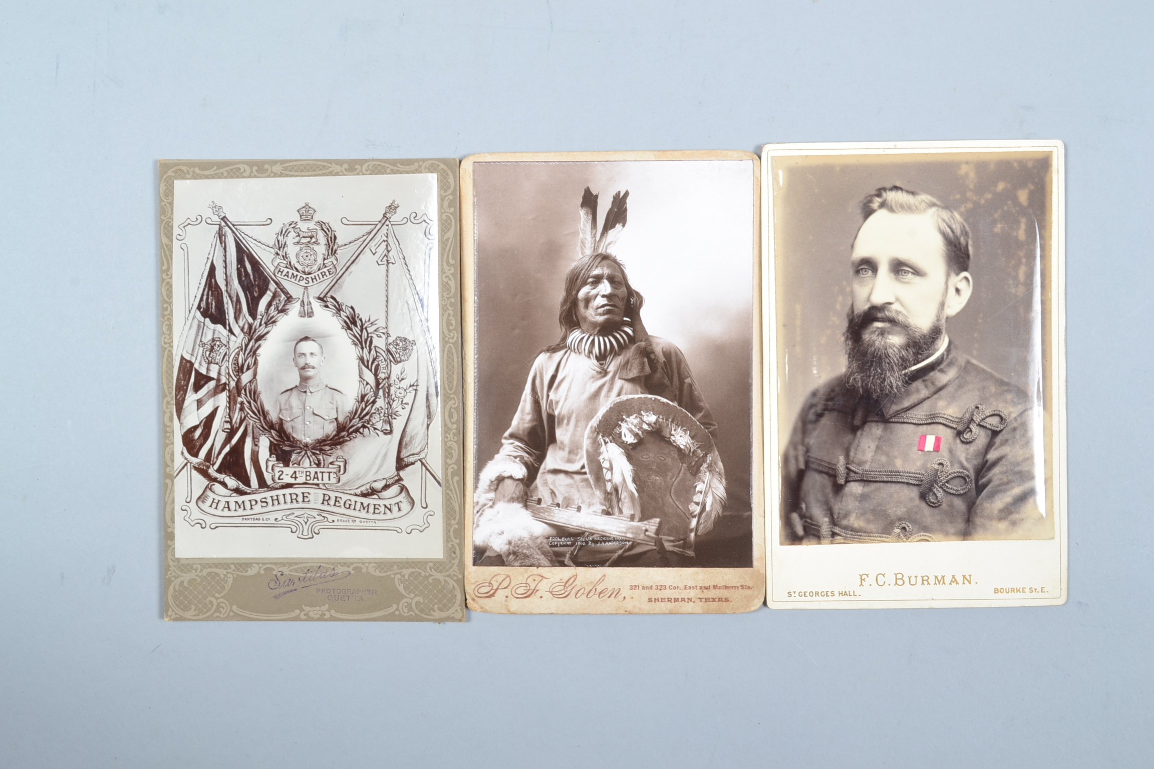 Cabinet Cards, Sioux Medicine Man, 1900/J A Anderson, sold by Goben, Sherman, Texas (1), India (