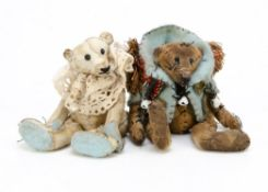 Two miniature artist teddy bears, both made from distressed cotton, one white and one beige,