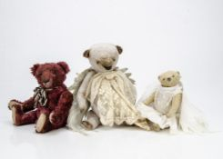 Three artist teddy bears, of artificial silk plush, one grey with swivel head, jointed limbs, lace