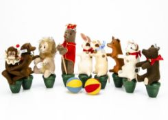 A Steiff limited edition animal skittle set 2005, 604 of 1000 with turned wooden bases
