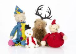 Three artist teddy bears, a slender bear with swivel head, jointed limbs and felt clown costume --12
