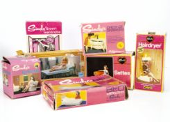 Pedigree Sindy boxed furniture, Hairdryer, Own Wardrobe, Settee, Armchair, Chest of Drawers and