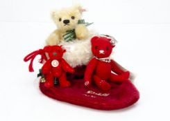 Steiff limited edition Christmas, a red teddy bear Christmas clip with bell, 1108 of 2006; a