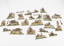 Chromolithographic embossed card German naval fleet 1900-1910, eleven battleships, two gun boats,
