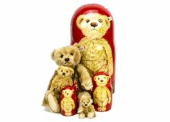 A Steiff limited edition Matrioschka 2005, 491 of 750, three painted wooden dolls and three mohair
