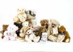Various collectors teddy bears, Brian a Buddy Bear by Lynne Cameron --13in. (33cm.) high; a Russ