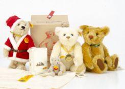 Four yellow tagged Steiff teddy bears, a Father Christmas teddy bear --10 ½in. (26.5cm.) high; two