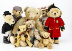 Three Merrythought for Harrods standing character teddy bears, Mrs Hudson, Sherlock Holmes and a