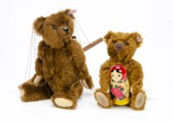 Two Steiff limited edition teddy bears, a Bertie Pantom bear puppet, 216 of 1911, 2007 and