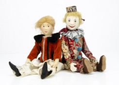 A well made felt clown doll in the style of Steiff, with blonde mohair hair, swivel head, jointed