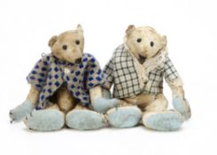 Two miniature artist teddy bears, both made from distressed white cotton, swivel heads and jointed