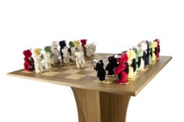 A Steiff limited edition Teddy Bear Chess Set and table 2007, 342 of 1000, thirty-two jointed