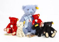 Six Steiff yellow tagged teddy bears and dogs, two red, one pale blue --11in. (28cm.) high, a