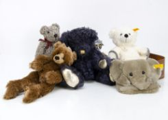 Manufactured collectors teddy bears, Steiff - yellow tagged Lotte in suitcase and an elephant head
