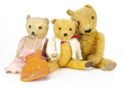 A Chiltern-type teddy bear 1940s, with golden mohair, clear and black glass eyes with remains of