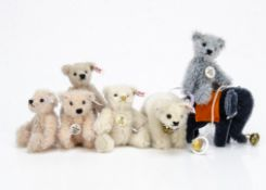 Seven Steiff Club Gift miniature teddy bears and animals, two 2003, 2004, 2005and 2008; and crib toy