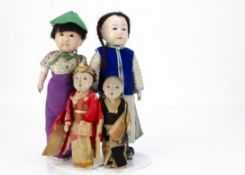 Four Japanese gofun Ichimatsu dolls, mainly early 20th century, a girl with dark inset eyes with