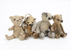 Four miniature artist teddy bear keyrings, three plush and one suedette, swivel head and jointed