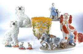 A collection of 20th Century ceramics, including a Sitzendorf figurine of a cobbler, a pair of