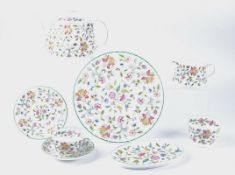 A Minton Haddon Hall pattern tea set, consisting of eight cups, eight saucers, eight side plates,