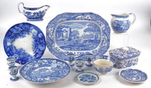 Three Copeland Spode Italian blue and white pottery transfer printed plates, two 19th Century and