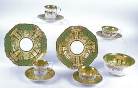 Thirty five pieces of late 19th Century Spode Felspar porcelain, in a pale yellow and sage green