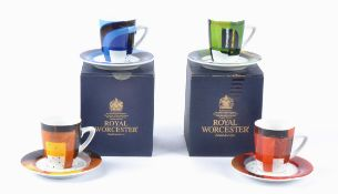 Govinder Nazran (1964-2008) for Royal Worcester, four coffee cups and saucers, boxed, from the