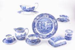 A quantity of Copeland Spode Blue Italian tablewares, to include butter dish, jugs, gravy boat,