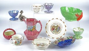 A small group of Maling Ware lustre items to include a jug with swirling pink decoration and
