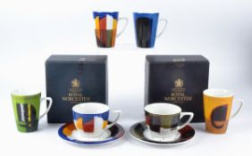 Govinder Nazran (1964-2008) for Royal Worcester, four mugs with feline subjects 'Bad Seed', '