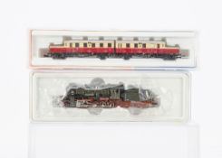 Minitrix and Roco N Gauge German Steam Locomotive and Railcar, two cased examples including 12608