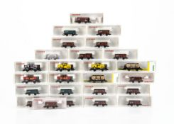 Continental N Gauge Open Trucks and Tank Wagons, a cased collection including Trix 15004 (2) and