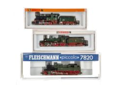 Fleischmann and Arnold German N Gauge Locomotives and Tenders, thee cased examples comprising