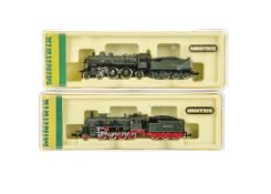 Minitrix N Gauge Bavarian Steam Locomotives and Tenders, two cased examples 12035 BR S2/5 and 2923