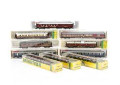 Fleischmann and Minitrix N Gauge Continental Coaches, a cased group comprising Fleischmann 8110 (2),