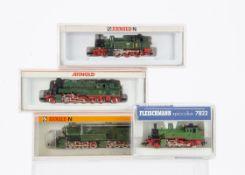 Fleischmann and Arnold N Gauge German Steam Locomotives, four cased examples including Fleischmann