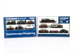 Fleischmann N Gauge Prussian and Bavarian Train Sets, two cased sets 7902 comprising P10 3910