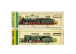 Minitrix N Gauge Bavarian and Prussian Steam Locomotives and Tenders, two cased examples 2088 BR S10