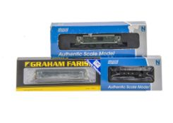 Graham Farish and Dapol N Gauge Steam and Diesel Locomotives, three cased examples all with card