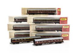 Hornby Minitrix N Gauge LMS Coaches, cased examples comprising N305 (7) and two others uncased all
