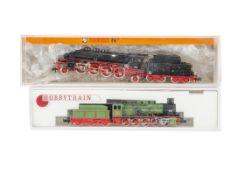 Hobby Train and Fleischmann N Gauge German Steam Locomotives and Tenders, two cased examples Hobby