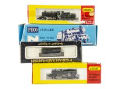 LMS N Gauge Steam and Diesel Locomotives, four boxed examples including Peco Jubilee NL-21 Nelson