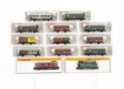 Fleischmann and Arnold Small N Gauge Coaches, a cased group comprising Fleischmann 8821K (2),