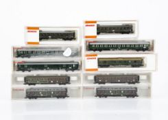 Fleischmann and Arnold N Gauge Continental Coaches, a cased group comprising Fleischmann 8100,