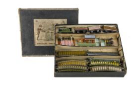 Bing Table Top 00 Gauge clockwork LNER Passenger Train Set No 2, comprising LNER lined green 2-4-0