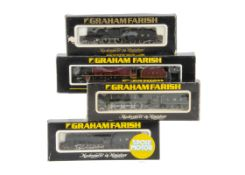 Graham Farish N Gauge LMS Steam Locomotives and Tenders, four boxed examples including 1206 Class 4P