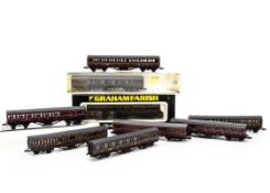 Graham Farish N Gauge LMS Coaches, a boxed 0605 57ft Suburban Coach, together with eight others