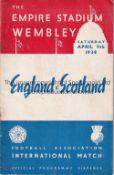 ENGLAND / SCOTLAND Programme England v Scotland at Wembley 9/4/1938. Staple rust. No writing. Fair